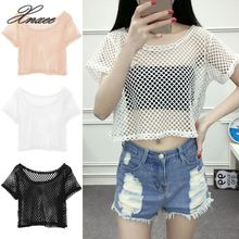 Sexy Mesh Top Women Girl Summer Hollow Out Crop Short Sleeve Top T Shirt Dancewear Lady Black White Crochet Lace Shirts hollow out contrast crochet lace top