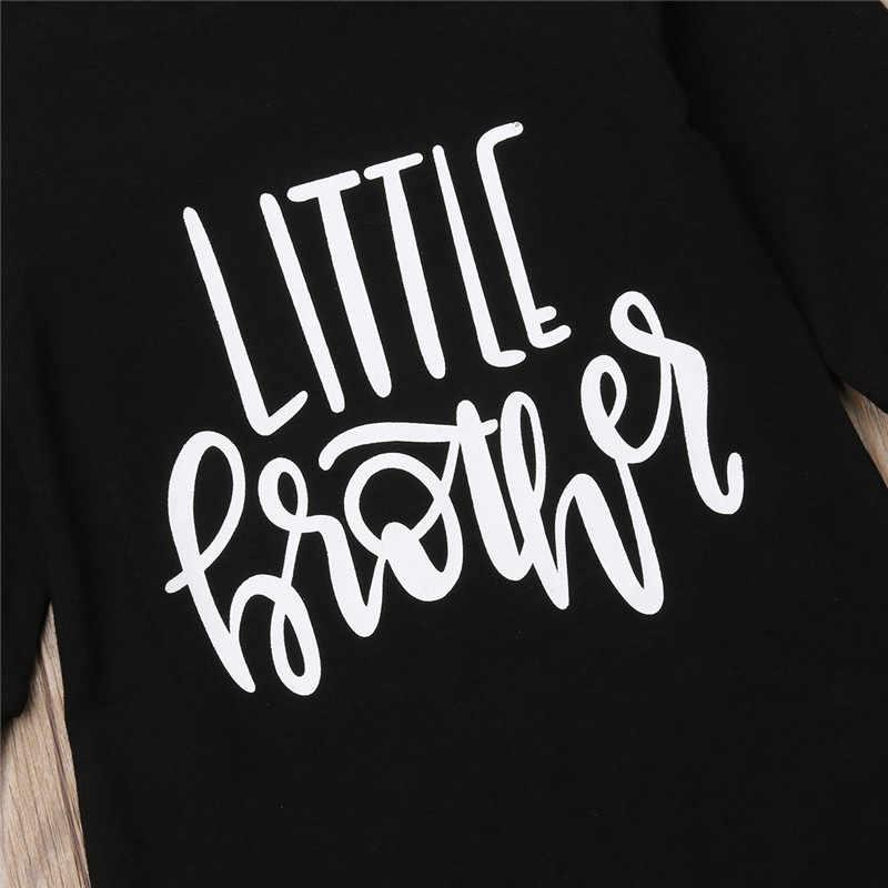 Осень-зима детские для маленьких мальчиков хлопковый комбинезон для новорожденных Для маленьких мальчиков черный длинный рукав ползунки Babygrows с надписью Детские комбинезоны