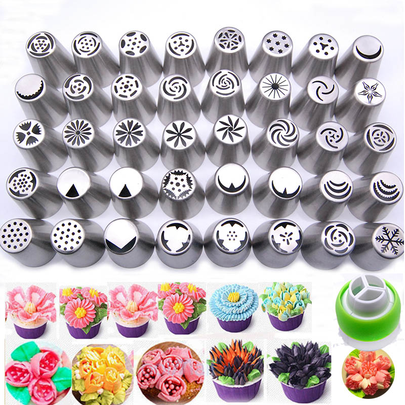 41PCS Stainless Steel Cake Nozzles Russian Tips Tulip ...
