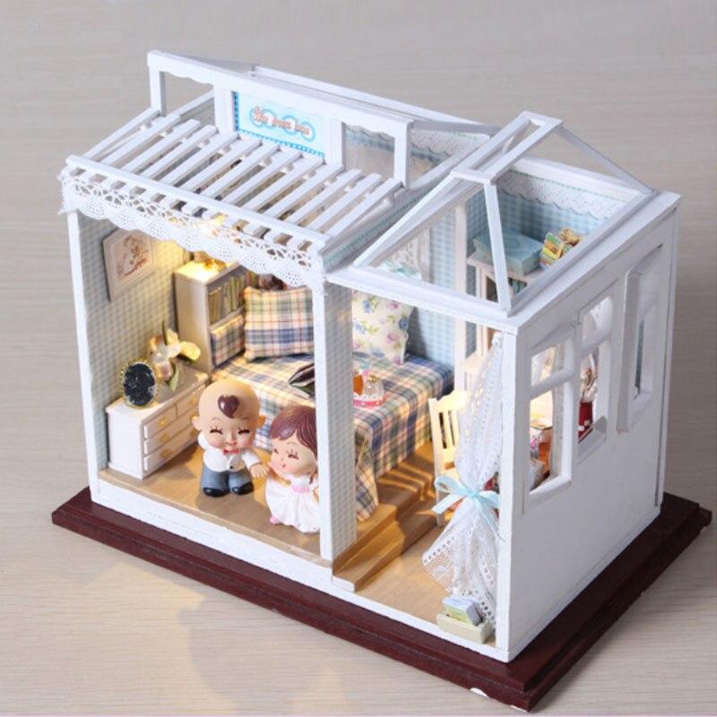 diy sweet home kits de casa de muecas en miniatura muebles luz led regalo de navidad hechos a mano juguetes de mad