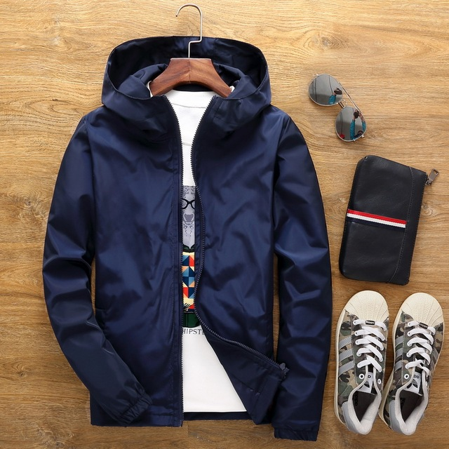 2019 Large Size 7XL Spring Summer Mens Fashion Outerwear Windbreaker Men' S Thin Jackets Hooded Casual Sporting Coat Big Size