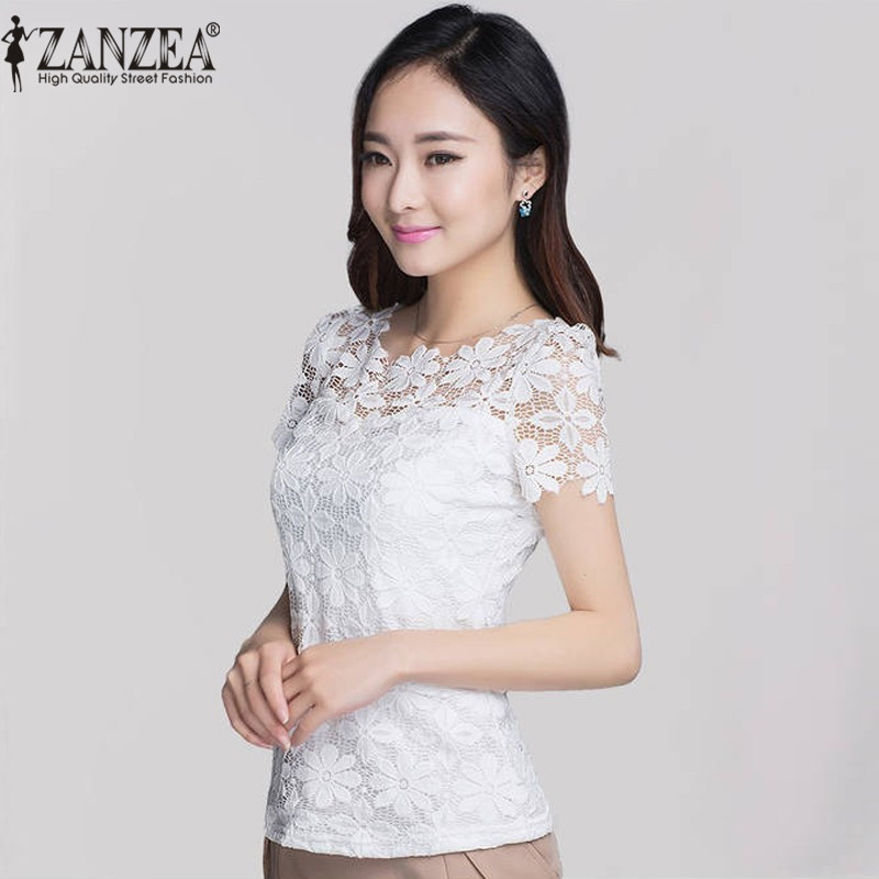 2018 Verano ZANZEA Mujeres Sexy Encaje Floral Slim Fitted Blusas Sólidas Camisas Elegante Casual Camiseta de Manga Corta Tops Blusas Más Tamaño