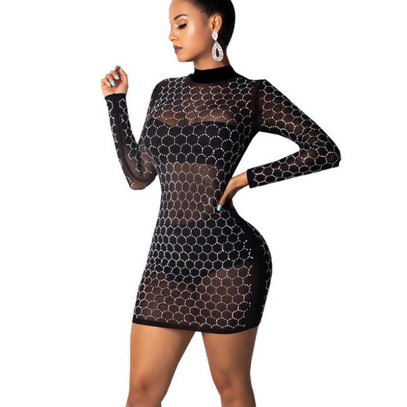0c9f472b Sexy Mesh See Through Black Glitter Dress Women Long Sleeve Turtleneck  Bodycon Mini Dress Sheer Going