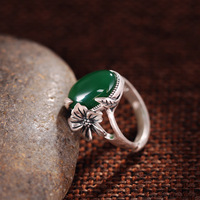 T Taiwan Zuyin Jewelry Sector 990 Sterling Silver Ring Opening Green Agate Gem Retro Lady Plum