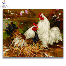 Coloring by numbers two chickens pictures paintings paints with colors framed artwork for living room decor
