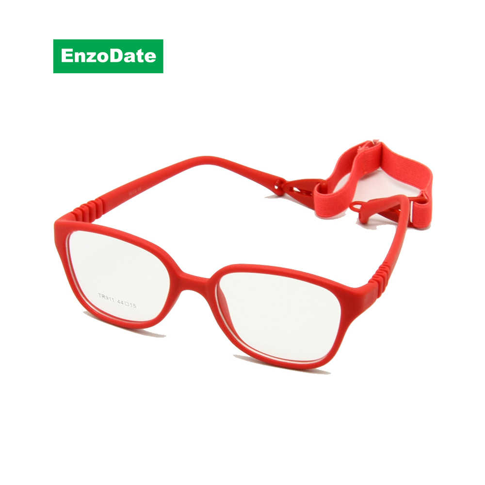 Kids Glasses Frame with Strap Size 44/15, Bendable Optical Children Glasses for Boys & Girls,One-piece No Screw 3-5Y