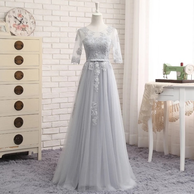 Half Sleeve Floor Length Tulle Lace Bridesmaid Dress 2