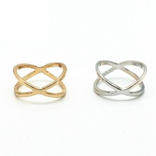 Hot Sale Fashion Simple X Cross Stereo Surround Hollow Designed Gold Silver Color Vintage Rings for Women Summer Daily Jewelry(China)