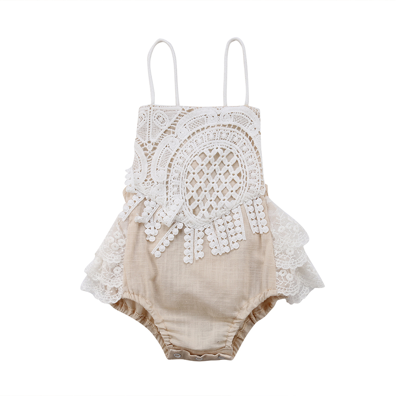 Pudcoco Newborn Baby Girl Summer Clothing Lace Strap Backless   Romper   Jumpsuit Cute Infant Clothes 0-24M