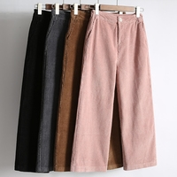 Women S Pants New High Waist Loose Wide Leg Pants Women Autumn Winter Corduroy Cropped Trousers