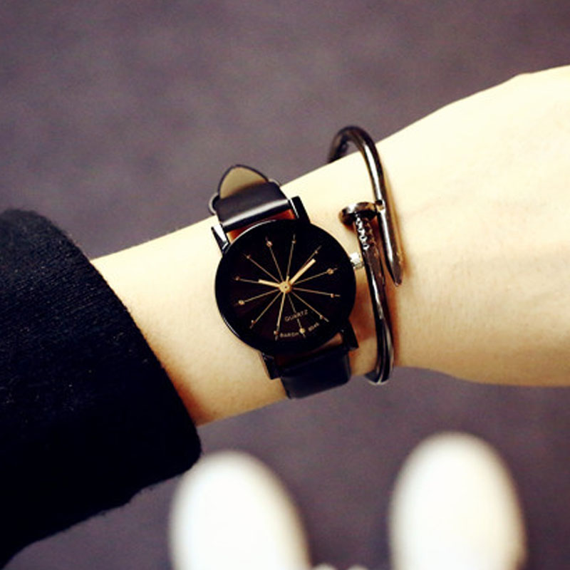 Lover Watches Simple PU Leather Watch Round Diamond Crystal Dial Couples Casual Style WristWatch For Lovers Birthday Gift   LL ibso new arrival elegant wrist watches for couples dress genuine leather belt lovers watch brass dial famosa marca de relojes