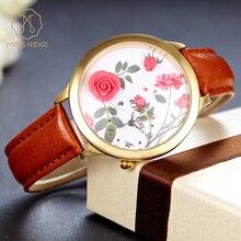 Miss Keke Brand Quartz Gold Watches Women Leather 3D Clay Rose Flower Retro Wrist Watch Girls Ladies Bracelet Casual Watches 3