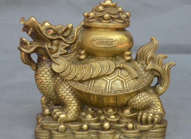 Populaire Chine Laiton Richesse Monnaie Trésor Bol Longévité Dragon Tortue Statue