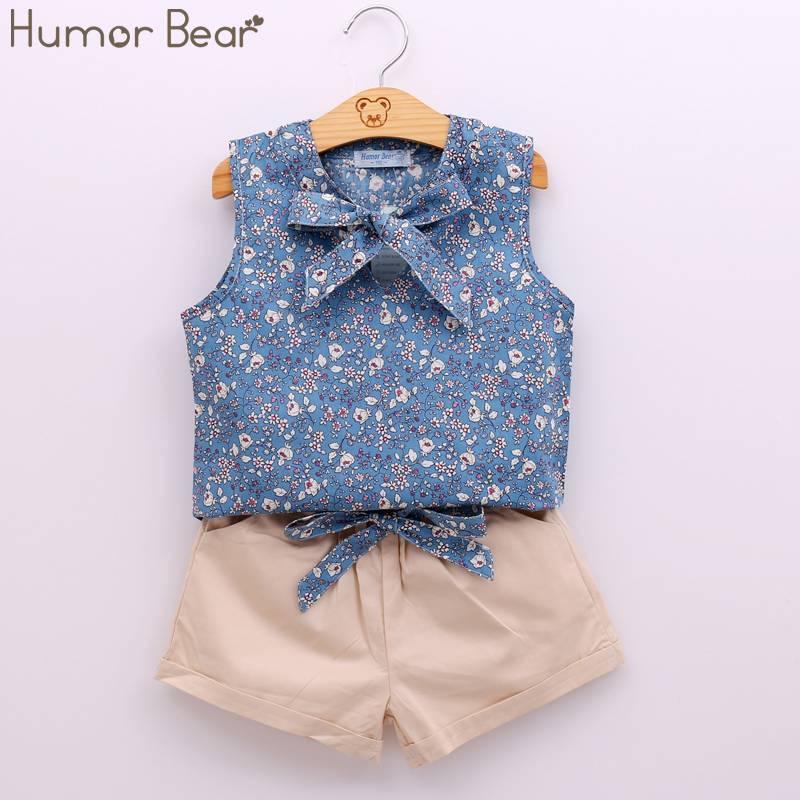 Humor Bear Summer Style Kids Clothes Fashion Flower T shirt + Pant Baby Suits Children Clothing Set Baby Girls Clothes fashion summer kids girls clothing set striped shirt coat pant 3pcs cotton children girls suits sportwear orange clothes aa5390