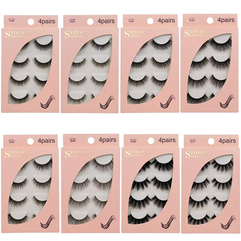 4 Pairs Mink Eyelashes 3D Mink Lashes False Eyelashes Natural 3d False Lashes Cilios Mink For Makeups Faux Eye Lashes Faux Cils
