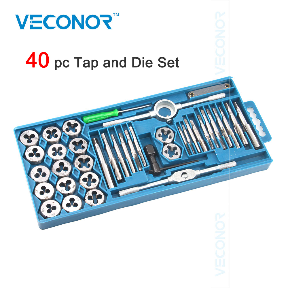 Veconor tap and die set quality alloy steel tap and die kit for professional use 12pcs 20pcs & 40pcs for choose 40pcs tap