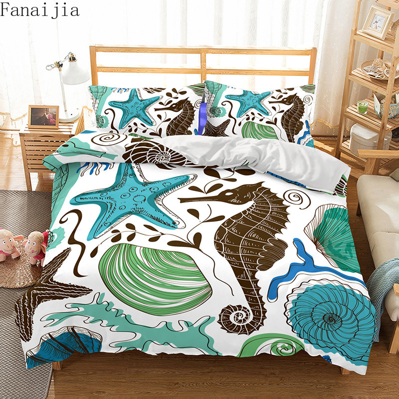 Fanaijia Underwater world bedding Sets queen size 3d kids Duvet Cover set with pillow case Bed bedline AU US size bedlineFanaijia Underwater world bedding Sets queen size 3d kids Duvet Cover set with pillow case Bed bedline AU US size bedline