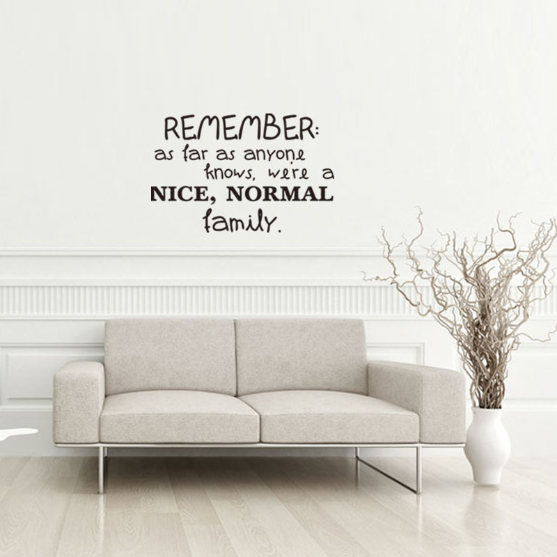 wall sticker 'remember as far as anyone knows, we are a nice family