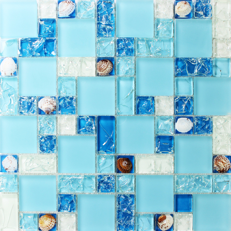 Tst Sea Blue Glass Mosaics Tile Bathroom Wall Mirror Deco