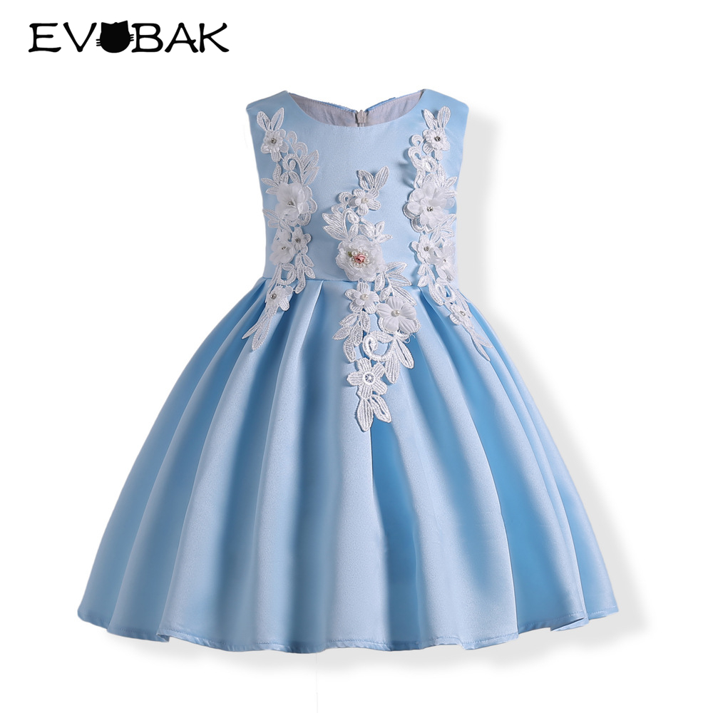 Flower Girls Dress Summer Lace Party Dresses Kids Clothes Blue ...