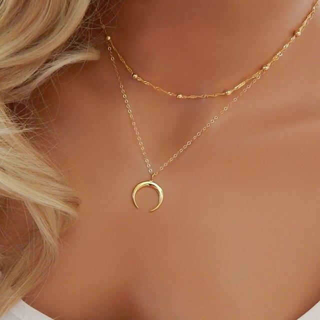 mode silber gold farbe perlen doppel kette mond halsband halskette f r frauen boho crescent. Black Bedroom Furniture Sets. Home Design Ideas
