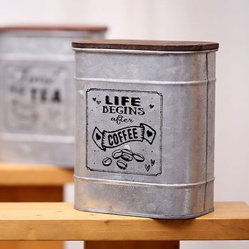 Vintage Metal Square Candy Trinket Tin Storage Box with Wooden Cover Cans Coffee Tea sugar Seasoning Jewelry Case 3