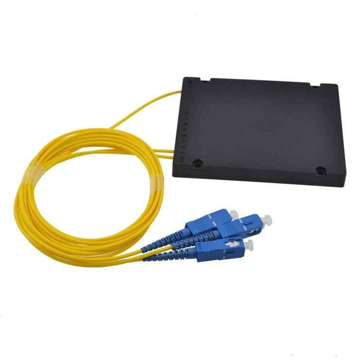Free Shipping GPON EPON 2.0mm 1x2 ABS Box 1*2 SC/UPC Fiber Optical PLC Splitter