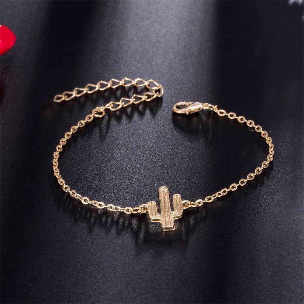 4 sztuk/zestaw złoty kolor kaktus list węzeł mankiet Bangle bransoletka bransoletka czeski moda kryształ wzór geometryczny metalowy łańcuch bransoletka komunikat biżuteria