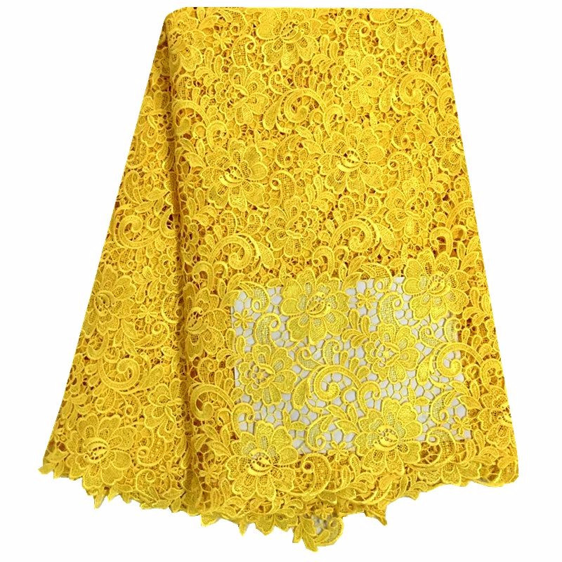 African Lace Fabric Yellow Color Guipure Lace Fabric 2018 High Quality Nigerian Cord Lace Fabric For