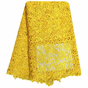 Image 1 - African Lace Fabric Yellow Color Guipure Lace Fabric 2018 High Quality Nigerian Cord Lace Fabric For Wedding Dresses 13 5