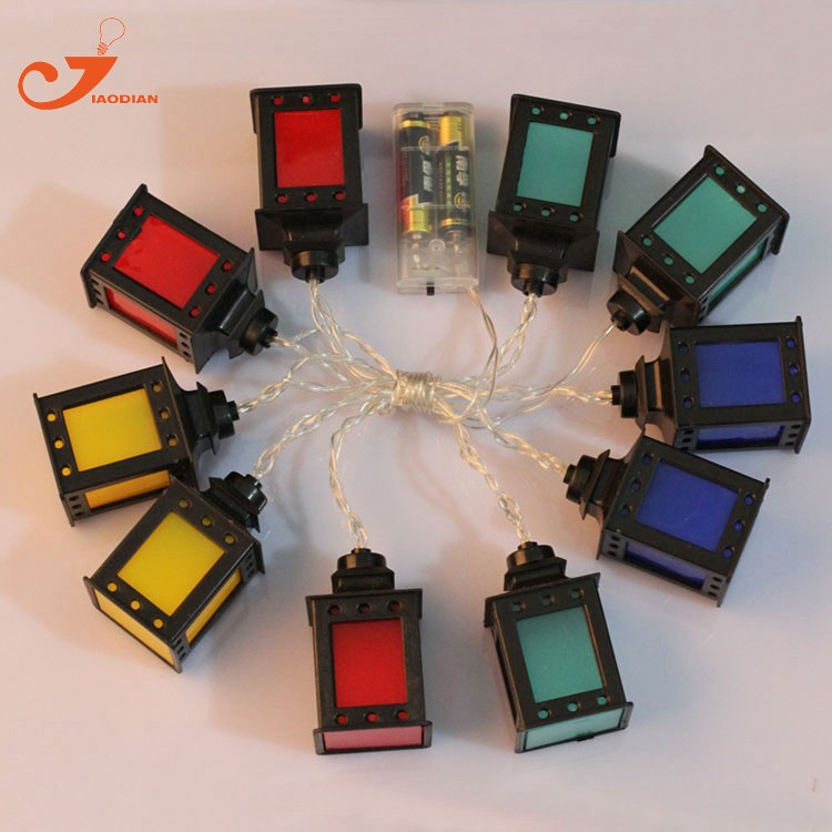 black lantern multicolor LED lights clear wire  (9)