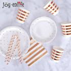 JOY-ENLIFE Rose Gold Party Tableware Champagne Plates Cup Straws Birthday Party Decor Wedding Hen Bachelorette Party Supplies