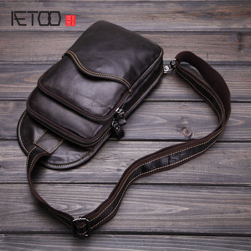 AETOO Men 's Casual Bags Genuine Leather Oil Wax Cowhide Shoulder Bag Casual Messenger Bag Retro Men Bag goog yu retro leather men s chest pack fashion casual messenger bag high grade genuine leather bag cowhide shoulder bags