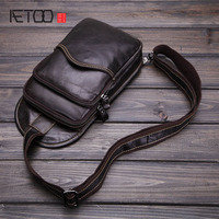 AETOO Men 's Casual Bags Genuine Leather Oil Wax Cowhide Shoulder Bag Casual Messenger Bag Retro Men Bag