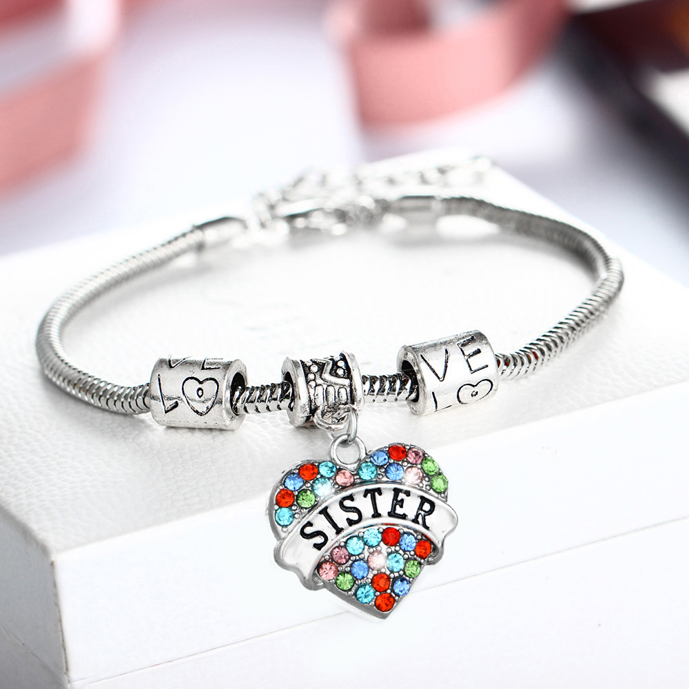 Wholesale Charm Heart Crystal Lovely Sis Sister Bracelets Bangles Fashion Jewelry Family Party For Women Girl Love Gift Bracelet