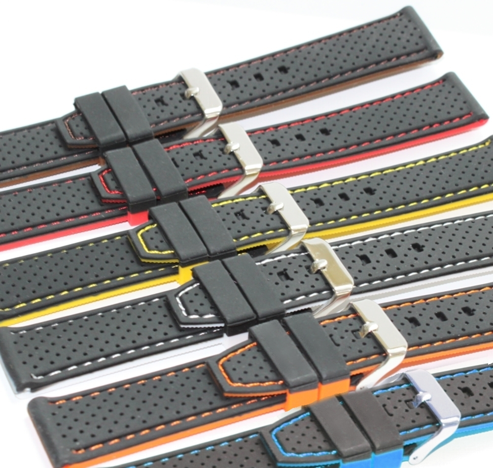 Wholesale 18Pcs Lots 22mm Elegant Two tone Silicone Jelly Unisex Watch Band Straps WB1047