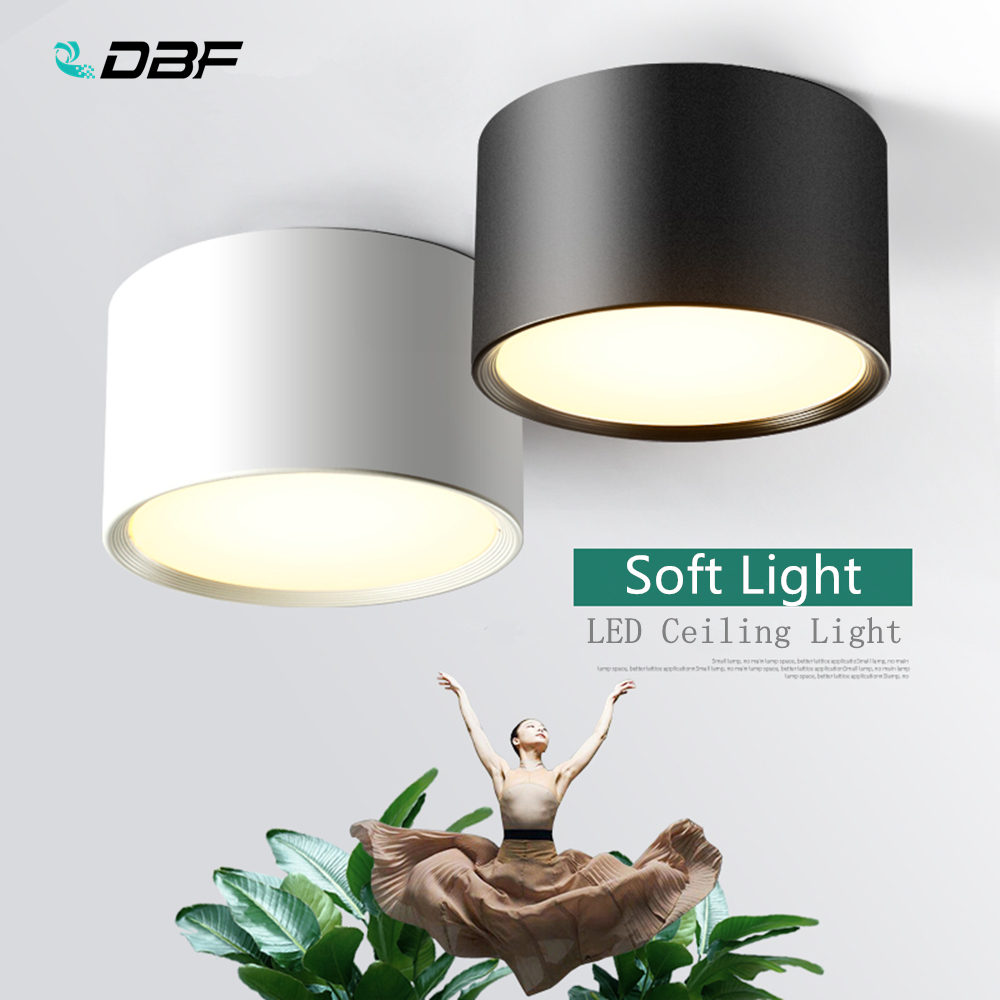 [DBF]White/Black Surface Mounted Ceiling Downlight 5W 12W 15W LED Ceiling Spot Light AC110/220V For Kitchen Living Room Decor