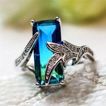 Summer Fashion Female Crystal Rainbow Ring 925 Silver Zircon