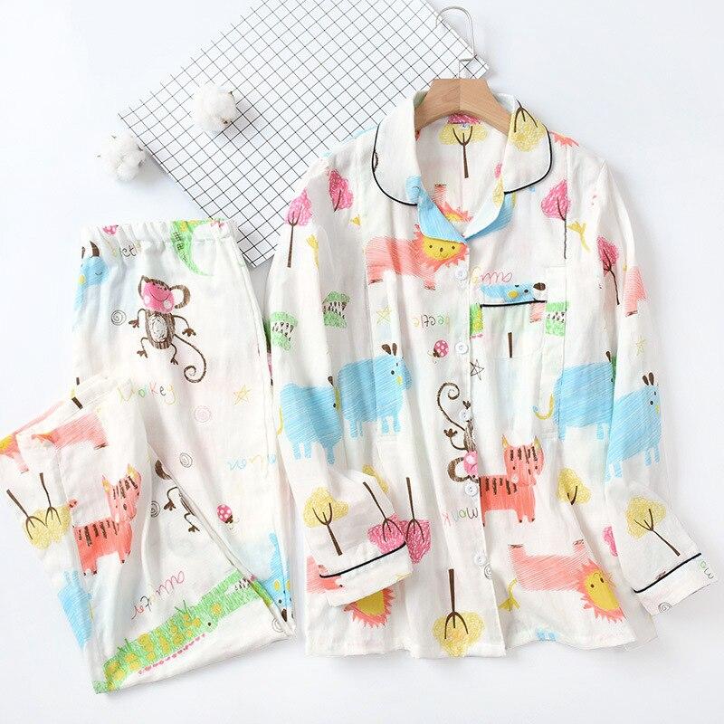 100% Baumwolle Gaze Stillzeit Stillen Kleidung Mutterschaft Langarm Thin Pyjamas Drehen-unten Kragen Pijama Frauen Pyjamas Set Um Eine Reibungslose üBertragung Zu GewäHrleisten