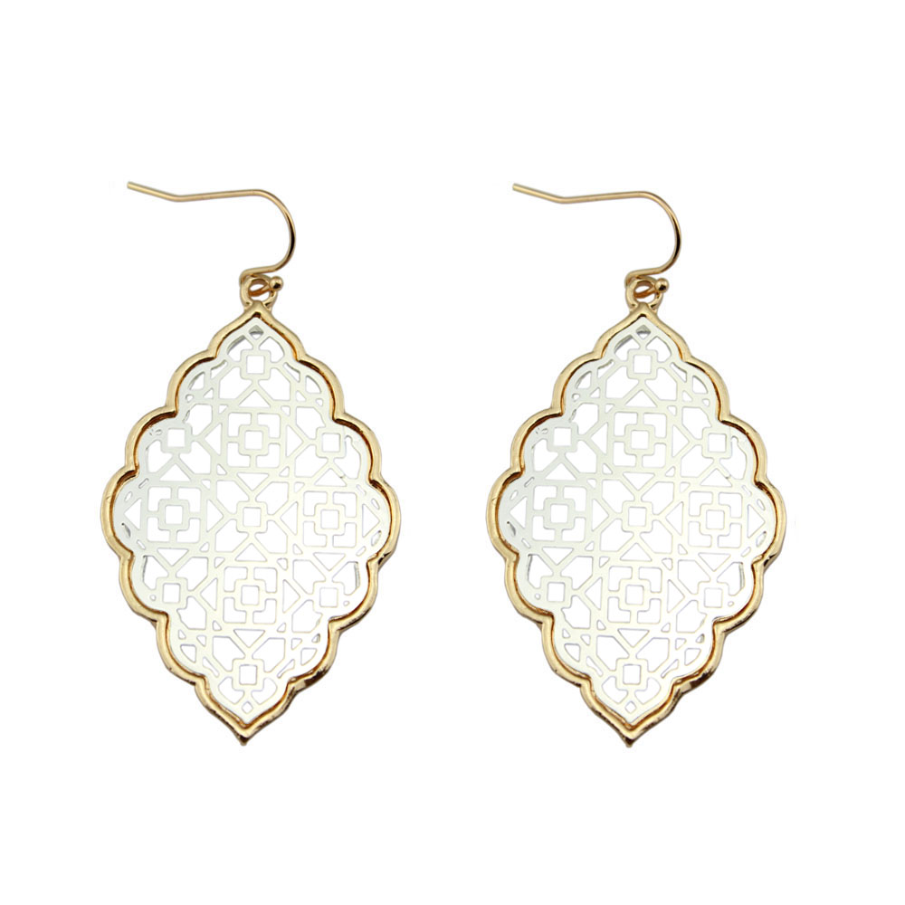 LET IT BE Dua Tone Earrings Filigree for Women 2017 Pernyataan Fesyen Barang Kemas Dangle Earrings Butik Borong