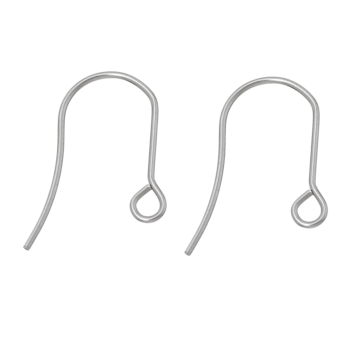 Doreenbeads Stainless Steel Ear Wire Hooks Earring Findings U Shaped Dull Silver Color 19mm 6 8