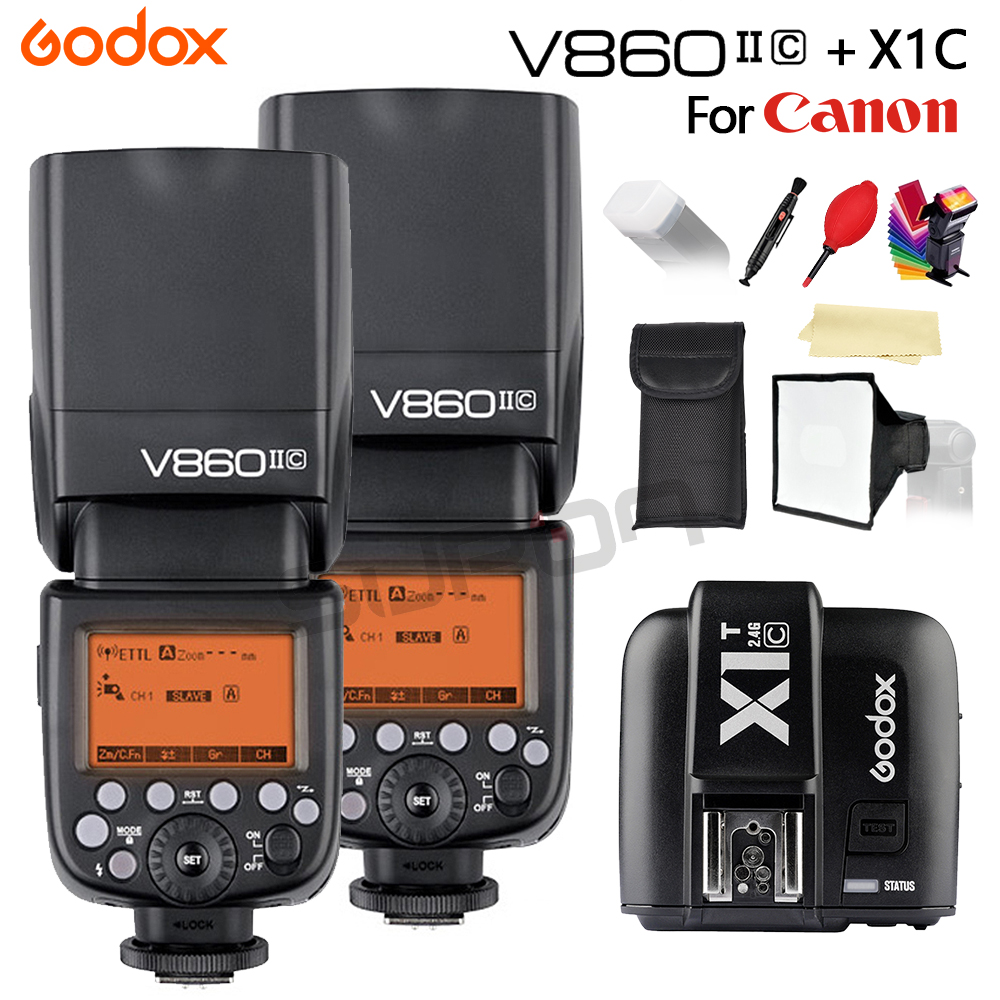 Godox 2pc V860II The Flash Li-Battery E-TTL HSS 1/8000s Bateria Camera Flash Speedlite V860IIC With X1T-C for Canon 60D/650D/80D godox v860ii c v860iic speedlite gn60 hss 1 8000s ttl flash light x1t c wireless flash trigger transmitter for canon eos