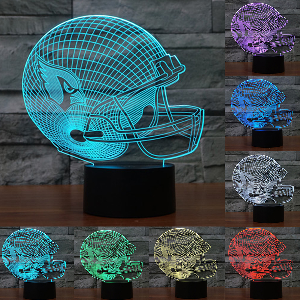 Baseball cap Arizona Cardinals 3D LED night light 7 color changing Night Lamp touch switch USB table lamp light gift IY803651