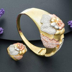 Image 2 - ModemAngel Fashion Design Flower Shape Jewelry Accessories Bangle And Ring Set for Women 3 Tones High Quality Gift