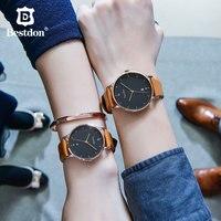 Bestdon пара часов Японии кварцевые водостойкие Модные женские наручные часы Италия ремешок из воловьей кожи тенденции классический для влюбл...