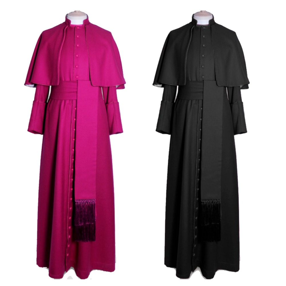 Cosplaydiy Custom Made Roman Soutane Cassock Cosplay Costume Adult Blue Medieval Clergy Robe Cassock With Belt L320