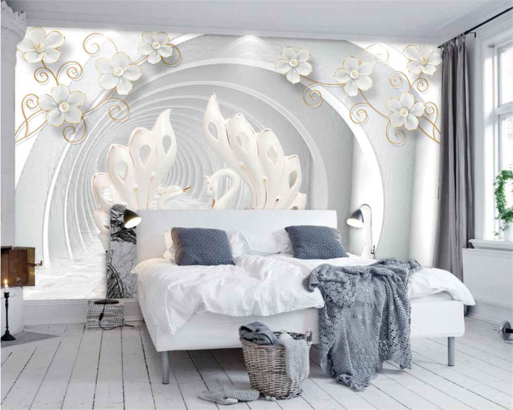 beibehang Custom Wallpaper Home Decorative Background Mural 3D White Jewelery Fl