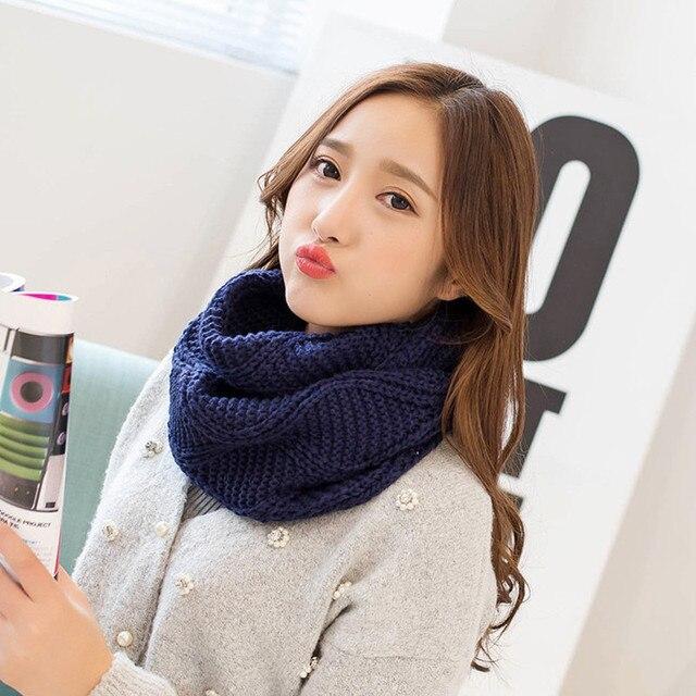 Зимние Для женщин шарф утолщаются Вязание воротник шаль шеи шарфы модные однотонные Цвета любителей кольцо шарф женский теплый мягкий шарф-труба