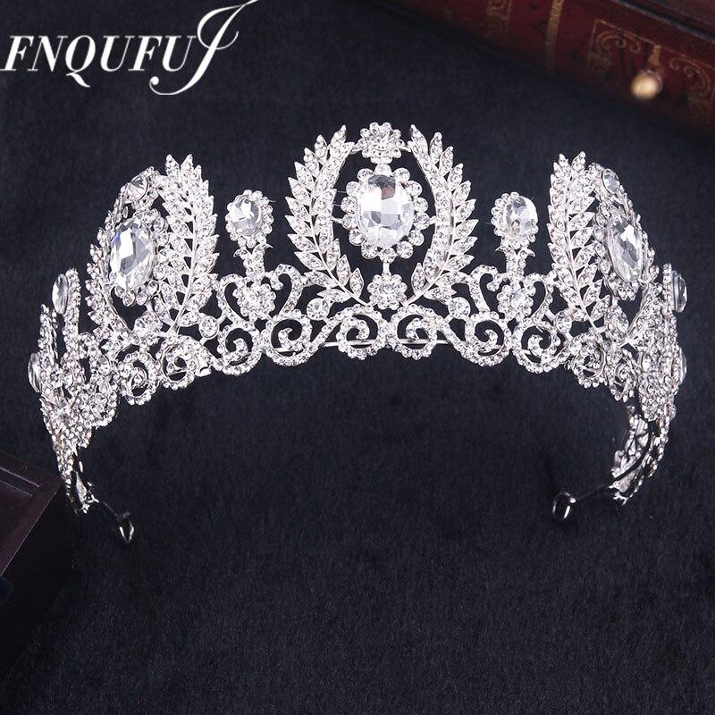 Hair-Accessories Headband Bridal-Tiara Rhinestone Crystal Wedding-Crown-Queen Big-Flower