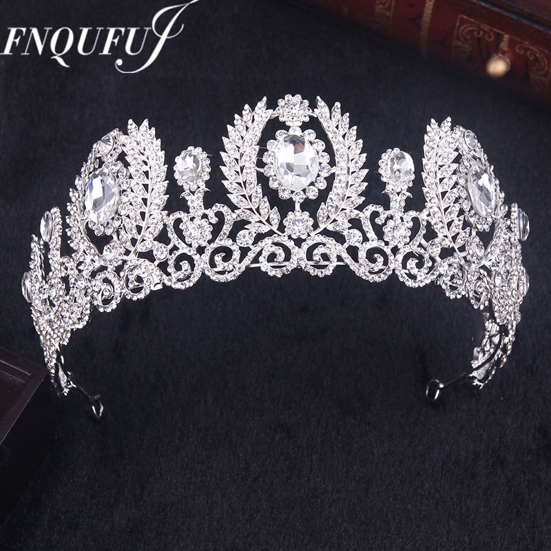 Crystal wedding crown queen headband rhinestone big flower bridal tiara bride bridal hair accessories head diadem hair jewelry girl crown crystal barrettes hair accessories shiny rhinestone crystal crown bridal wedding tiara flower child hair ornament